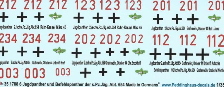 Pz.Jäg Peddinghaus-Decals 1//35 1788 6 Jagdpanther und 1 Befehlspanther der schw